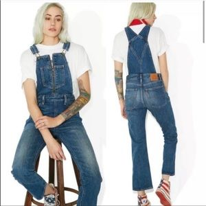 Levi's Zip Front Denim Cropped Overalls Size 25